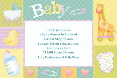 Custom Pastel Patchwork Baby Shower Invitations