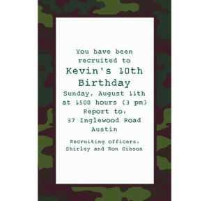 Custom Camouflage Invitations