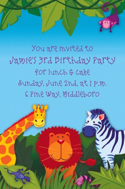 Custom Jungle Animals Invitations