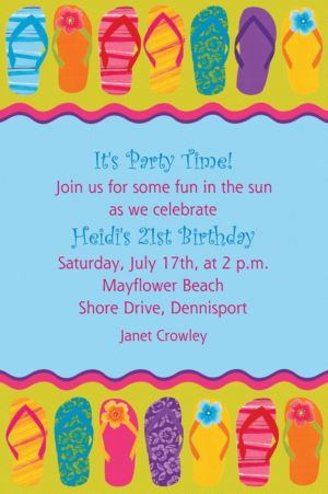 Custom Flip Flop Summer Invitations