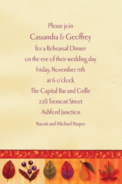 Custom Watercolor Leaves Fall Invitations
