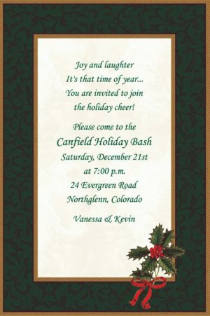 Custom Classic Holly Christmas Invitations