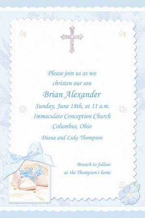 Custom Tiny Blessing Blue Invitations