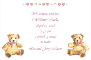 Custom Teddy Bears with Pink Birth Announcements