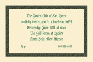 Custom Green Moroccan Border Ecru Invitations