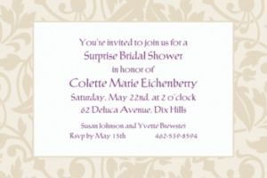 Custom Taupe Damask Border Invitations