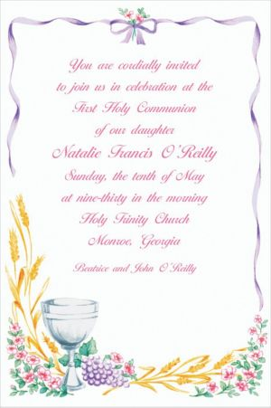 Custom Communion with Flowers Invitations