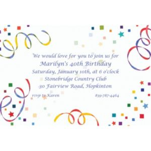 Custom Confetti & Streamers Invitations