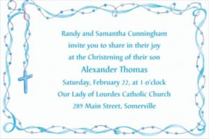Custom Rosary with Blue Ribbon Invitations