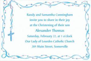 Custom Rosary with Blue Ribbon Invitations