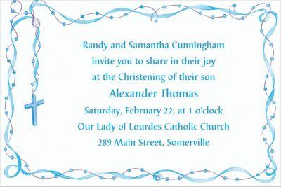 Rosary with Blue Ribbon Custom Invitation