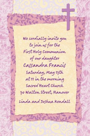 Custom Pink Cross Collage Invitations