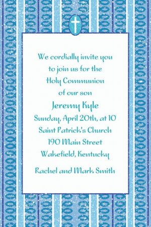Custom Cross with Blue Stripe Invitations