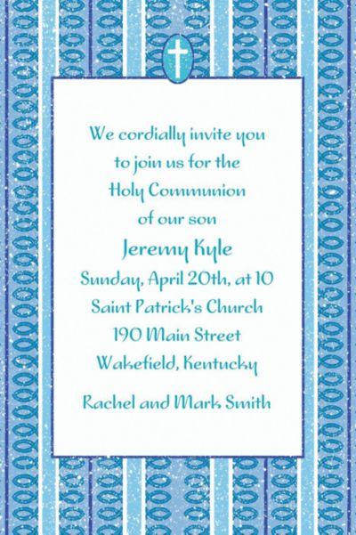 Cross with Blue Stripe Custom Invitation