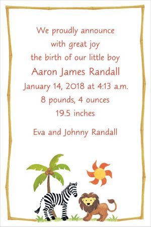 Custom Zebra & Friends Birth Announcements