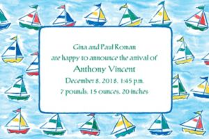 Custom Sailing Sailboats Birth Announcements