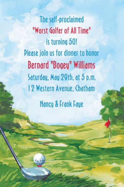 Golf Course Landscape Custom Invitation