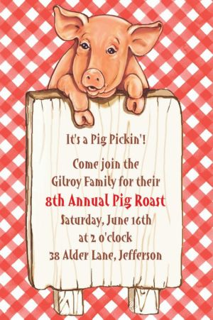 Custom Pig with Sign Invitations