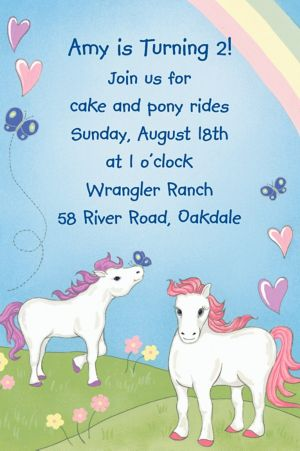 Custom Pretty Ponies Invitations