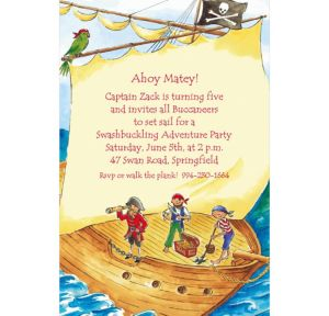 Custom Pirate Ship with Flag Invitations