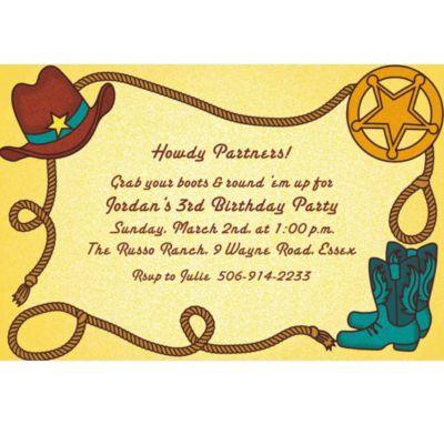 Custom Little Cowboy Motif Invitations