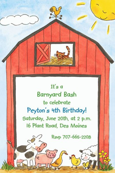 Custom Barnyard Animals Invitations