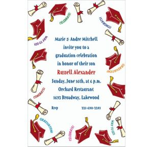 Custom Red Tossed Grad Caps Invitations