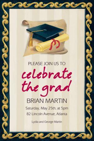 Custom Black Grad Portrait Graduation Invitations