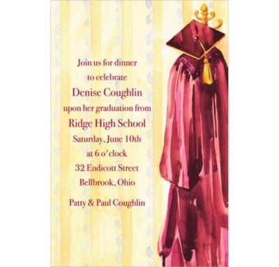 Custom Burgundy Gown Graduation Invitations