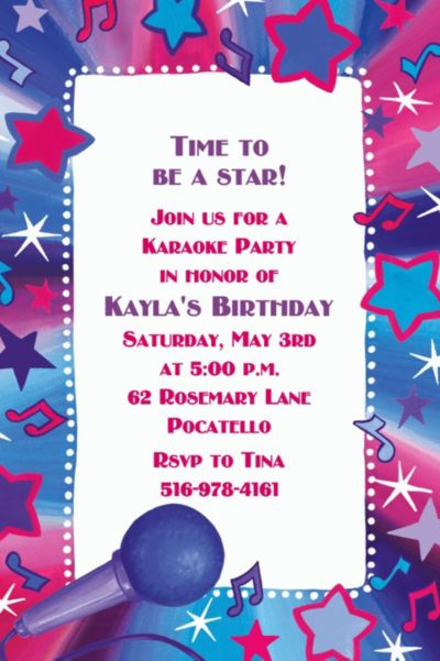 Custom Rock Star Karaoke Invitations