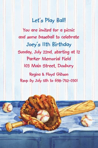 Custom Baseball Still Life Invitations