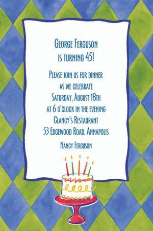 Custom Cake on Diamond Pattern Invitations