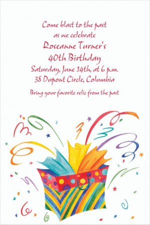 Custom Bursting Gift Bag Invitations