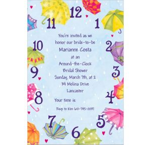 Custom Around-the-Clock Shower Bridal Shower Invitations