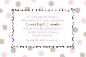 Custom Pink Dots Border Birth Announcements