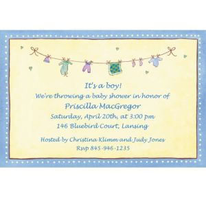 Custom Boy Laundry Baby Shower Invitations