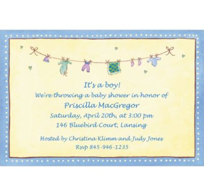 Boy Laundry Custom Baby Shower Invitation