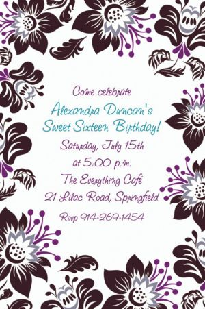 Custom Damask Blossoms Invitations