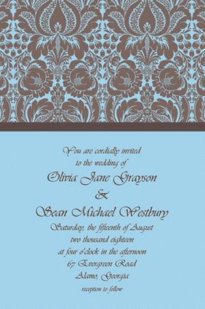 Custom Blue Damask Invitations