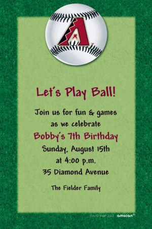 Custom Arizona Diamondbacks Invitations