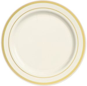 Cream Gold-Trimmed Premium Plastic Dinner Plates 10ct