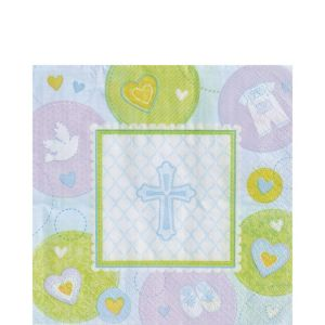 Blue Sweet Religious Lunch Napkins 16ct