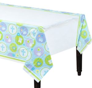 Blue Sweet Religious Plastic Table Cover