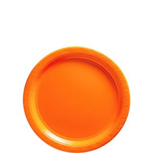 Big Party Pack Orange Paper Dessert Plates 50ct