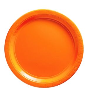 Big Party Pack Orange Paper Lunch Plates 50ct