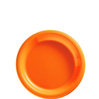 Orange Plastic Dessert Plates 50ct
