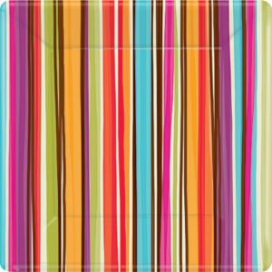 Stripe Style Square Dessert Plates 8ct