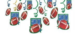 Football Swirl Decorations 12ct