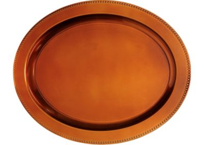 Elegant Fall Orange Oval Plastic Platter