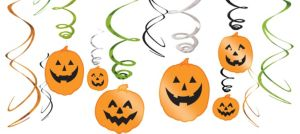 Pumpkin Hanging Swirl Decorations 12ct